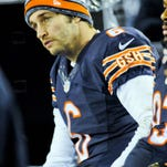 Chicago Bears quarterback Jay Cutler on the sidelines in the second half of their game against the New Orleans Saints at Soldier Field.