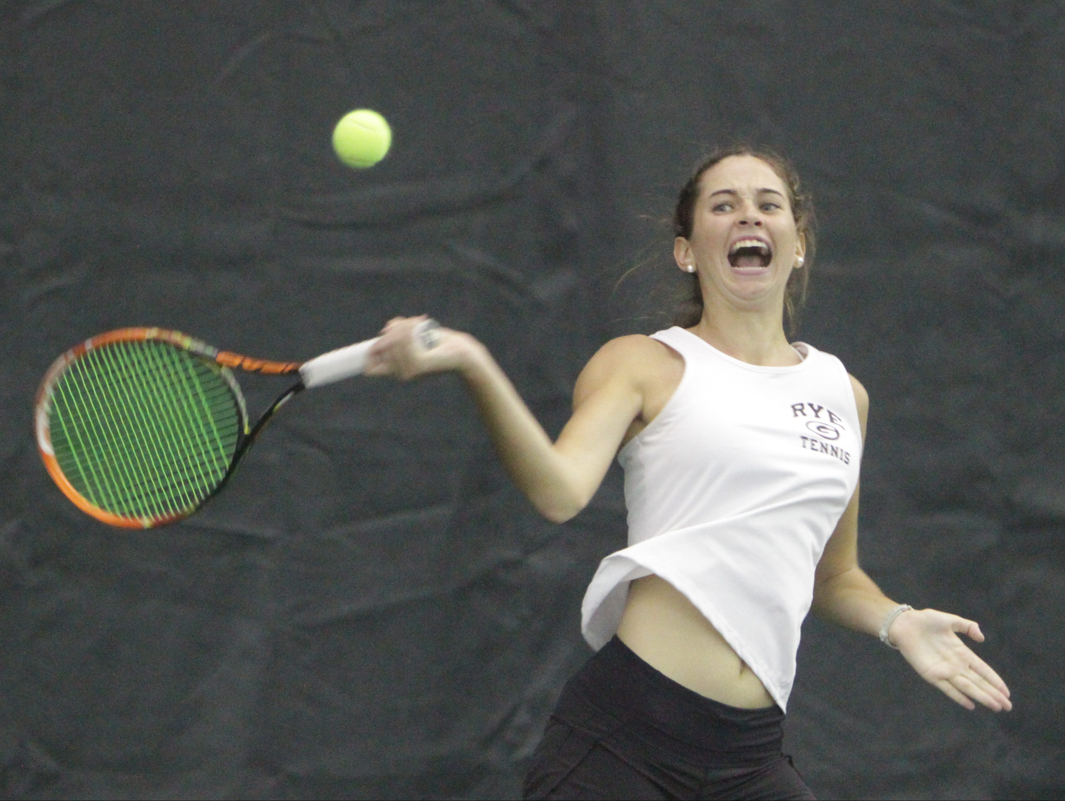Rye's Nathalie Rodilosso returns a ball during the 2016 Section 1 Tennis Tournament finals at Sound Shore Indoor Tennis in Port Chester on Sunday, Oct. 23rd, 2016.