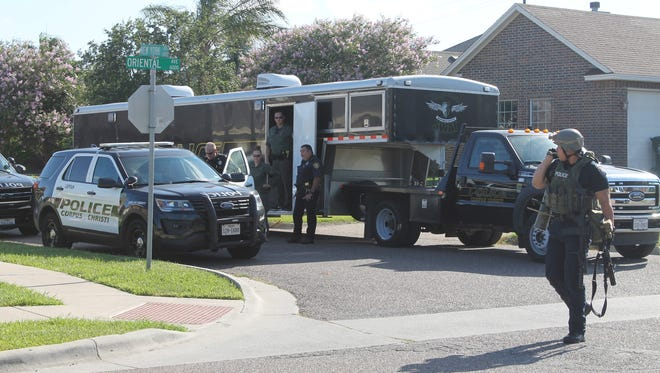 The Corpus Christi Police Department's SWAT team spent more than two hours negotiating with a man who barricaded himself in his bathroom Wednesday, July 5, 2017.