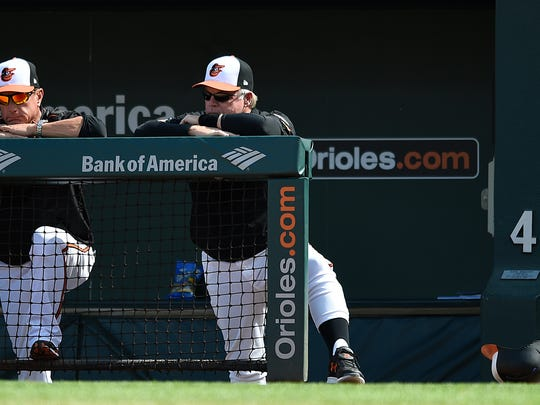 Baltimore Orioles manager Buck Showalter, right, and bench coach John Russell look on during the Orioles 9-1 loss to the New York Yankees in a baseball game, Thursday, Sept. 7, 2017, in Baltimore.