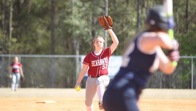 Franklin County eighth grader Jaylin Charles pitches against John Paul II on Wednesday. The Seahawks' softball team is currently 12-7 on the year and in prime position to pick up the school's first district title.