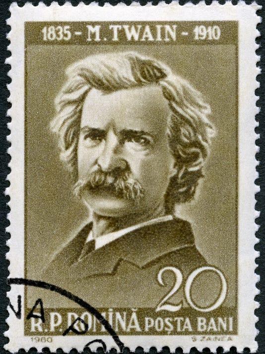 Postage stamp Romania 1960 shows Mark Twain (1835-1910)