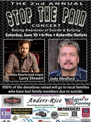 The poster for June 10's Stop the Pain benefit concert.
