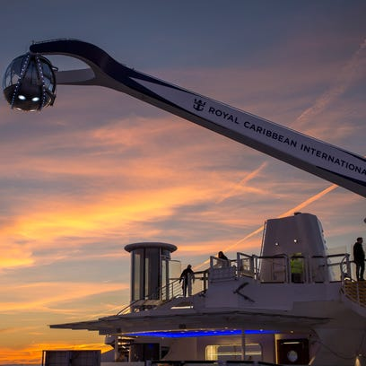 Perhaps the most notable new feature of Quantum of the Seas is North Star -- a giant mechanical arm that takes a dozen passengers at a time soaring above the vessel.