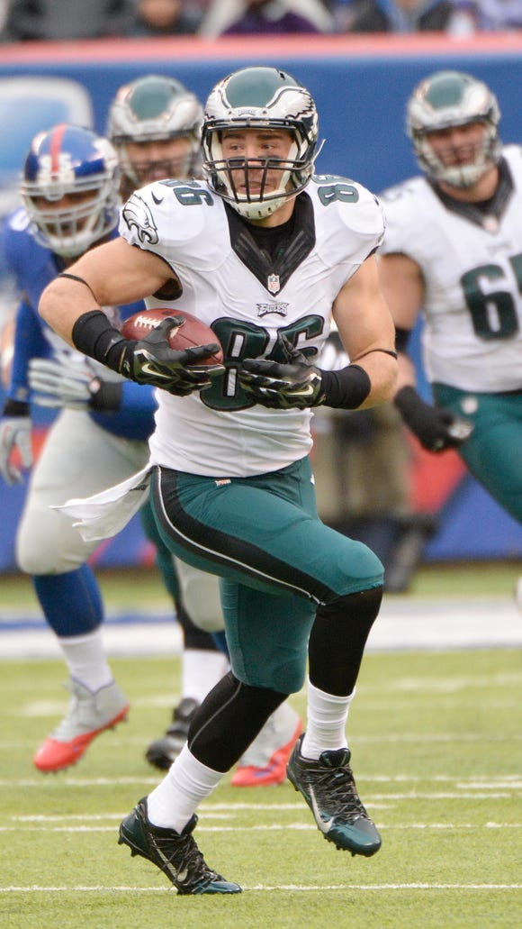 Philadelphia Eagles tight end Zach Ertz (86) will miss the remainder of the preseason with a sports hernia, the team said Friday.