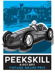 A rendering by artist Stephen Visconti of a poster for the proposed Peekskill Vintage Grand Prix, in which rare cars would tour -- but not race -- a course made up of the city's streets in October.