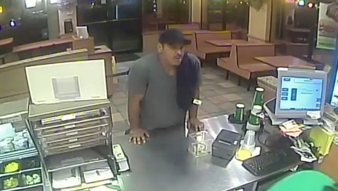 West Melbourne Police are asking for the public's help in identifying this man, who is suspected of robbing a Subway sandwich shop.