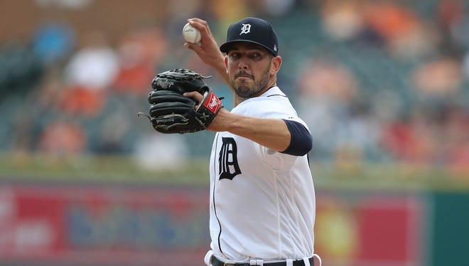 Drew VerHagen pitches against the Pirates in the first inning of the Tigers' 7-5 loss Thursday, Aug. 10, 2017 at Comerica Park.