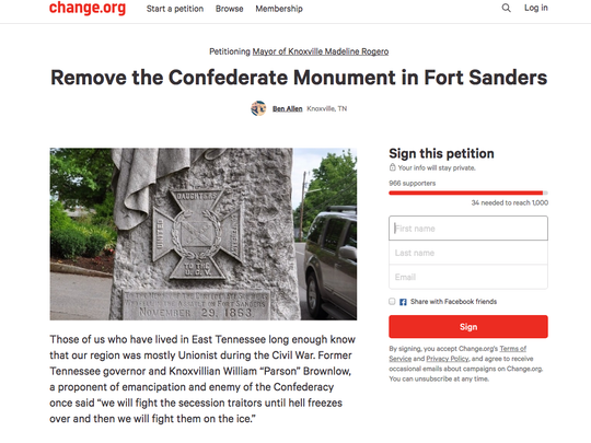 Change.org petition hopes to remove the Confederate Monument in Fort Sanders
