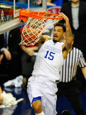 Kentucky Wildcats forward Willie Cauley-Stein (15) dunks during  the SEC Conference Championship game.