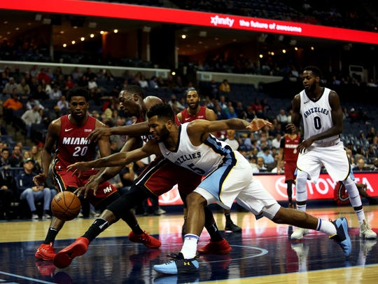 December 11, 2017 - Memphis Grizzlies guard Andrew Harrison (5) battles for the ball against Miami Heat center/forward Bam Adebayo (13) during the second half of action at FedExForum on Monday. The Heat defeated the Grizzlies 107-82.