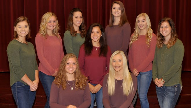 The annual Galion City Schools Homecoming and Connections Weekend activities kick off Wednesday. The homecoming court includes, from left, seated, Ashlie Sallee and Huntir Sparks; middle row, Teresa House; and back,Elise Barnhart, Kirsten Wagoner, Julie Clouse, Marisa Gwinner, Kayle Clark and Makayla Nickels.