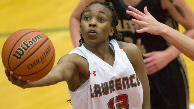 Lauren Dickerson of Lawrence North High School puts up a shot against Noblesville at Lawrence North High School, girls basketball, Indianapolis, Thursday, Nov. 5, 2015. LNHS won a lopsided contest 72-58.