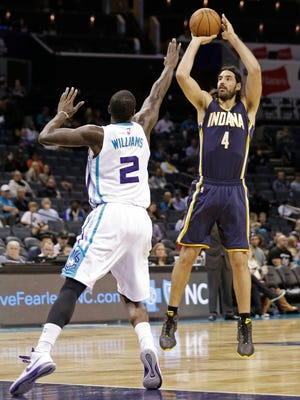 Power forward Luis Scola had 13 points in the first quarter Thursday, Oct. 23, 2014, as the Indiana Pacers closed out their exhibition season by beating the Hornets at Charlotte, N.C.