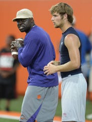 Woody Dantzler works with the QBs during Dabo Swinney's