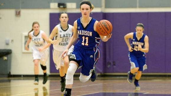 Madison junior Brooke Vilcinskas leads the Patriots girls basketball team in scoring, assists and steals.