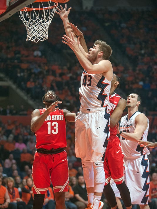 Illinois forward Michael Finke (43) jumps for a shot in the first half of an NCAA College basketball game at the State Farm Center in Champaign, Ill., Thursday Jan. 28, 2016.  (AP Photo/Rick Danzl)