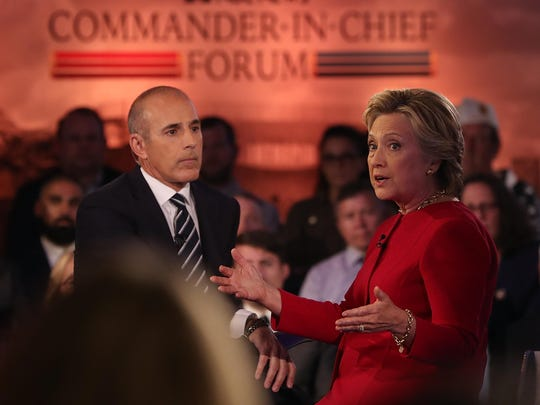Matt Lauer looks on as democratic presidential nominee former Secretary of State Hillary Clinton speaks during the NBC News Commander-in-Chief Forum on Wednesday in New York City.