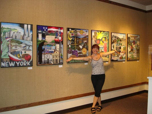 Sharon with her colored pencil collages..jpg