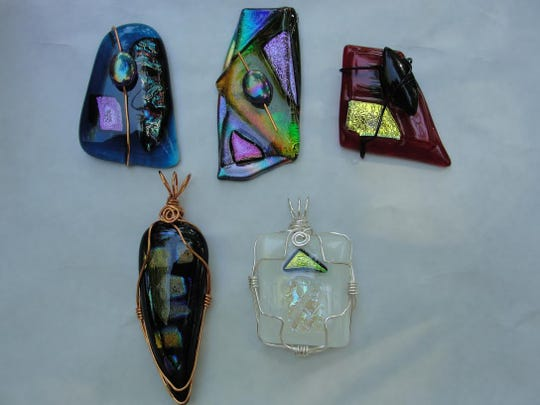 These glass and wire pendants were made by Sharon in 2012..jpg