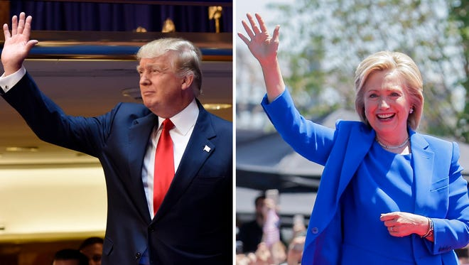 Donald Trump and Hillary Clinton at their respective campaign kickoffs in 2015.