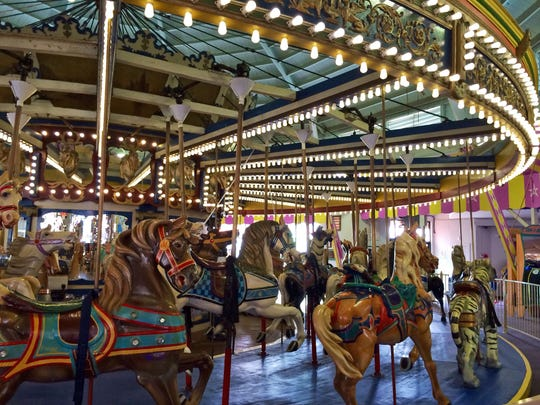 Ride the historic carousel at Casino Pier in Seaside Heights. The ride was built in 1910.