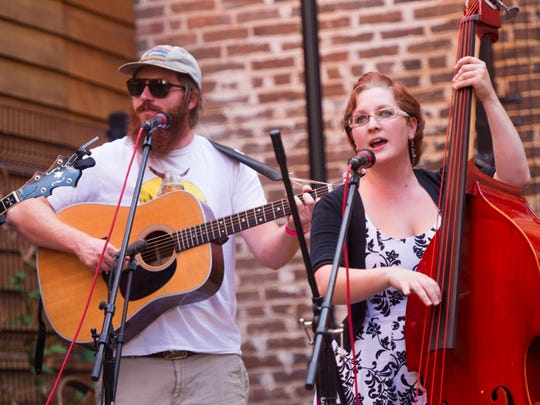 Members of Hound Dog Hill performing at the Craft Beer and Craft Festival in Staunton.