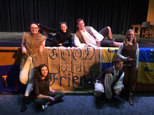 Wilmington Friends students at the Delaware Student Shakespeare Festival include, from left, front row, Cecelia Ergueta and Jesse Parker; standing, Victoria Schroeder and Maggie Coons; onstage, Bella Stucco and Jay Handwerk.