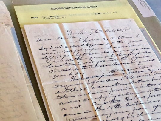 An original letter from Samuel Thurston to Asahel Bush II is shown. The letter is part of the Becoming Oregon project. Andy Zimmerman / Special to the Statesman Journal