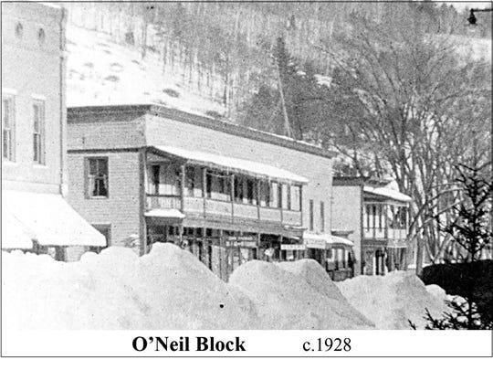 Bristol's O'Neil Block in the winter of 1928.