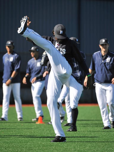 Tigers outfielder Cameron Maybin stretches at Detroit