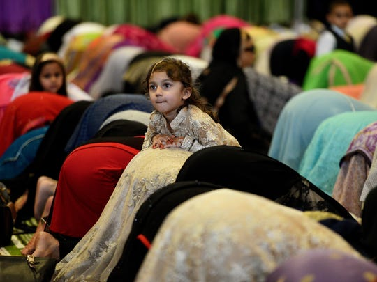 Muslims gathered in 2016 for the Eid al-Fitr prayer service at the Teaneck Armory to mark the end of Ramadan.