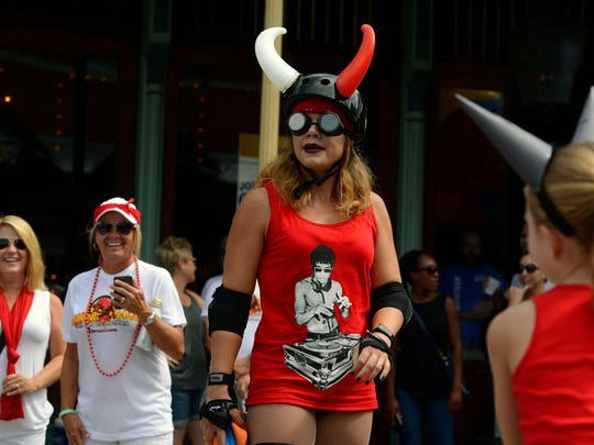 "People participate during the sixth annual ""Fiesta de San Fermin en Pensacola"" Running of the Bulls."