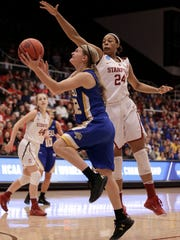 South Dakota State's Macy Miller, left, shoots against Stanford's Erica McCall (24) in the first half of a second-round women's college basketball game in the NCAA Tournament on Monday in Palo Alto, Calif.
