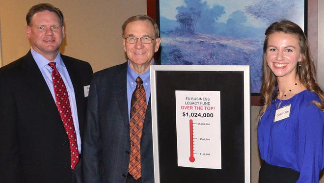 Evangel accounting graduate and energy industry executive Mark Allen, left, took the challenge to invest in business students like Sarah Elam, right. Bernie Dana spearheaded the $1 million campaign.