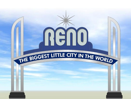 An artist's rendering of what the Reno Arch will look like after it's given a silver-and-blue makeover.