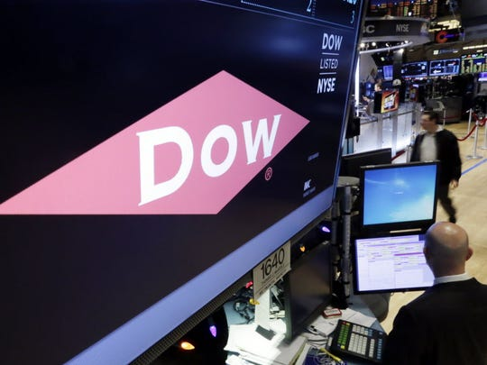 The company name of Dow appears above its trading post