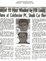 The Feb. 16, 1959, Burlington Free Press tells the story of one of the most wanted men in the nation who landed a plane at Colchester's Champlain Airport.