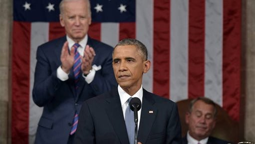 In this Jan. 20, 2015, file photo, President Barack Obama delivers his State of the Union address to a joint session of Congress on Capitol Hill in Washington, as Vice President Joe Biden applauds and House Speaker John Boehner of Ohio listens. Obama had some high profile victories last year, but his State of the Union proposals were not among them.