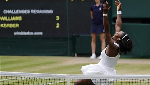 Serena Williams of the U.S celebrates after beating Angelique Kerber of Germany in the women's singles final on day thirteen of the Wimbledon Tennis Championships in London, Saturday.