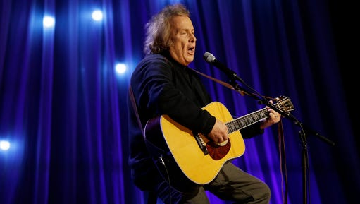 "In this Tuesday, Dec. 13, 2016, photo, Don McLean performs during a taping of Dolly Parton's Smoky Mountain Rise Telethon in Nashville, Tenn. Court officials said Wednesday, March 8, 2017, that a Maine court has given the ex-wife of ""American Pie"" singer McLean an order of protection against him."