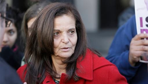 Rasmieh Yousef Odeh, 67, is interviewed outside federal court in Detroit, Monday, Nov. 10, 2014, after the Palestinian immigrant was found guilty of immigration fraud for failing to disclose her conviction and imprisonment in a Jerusalem supermarket bombing that killed two people.