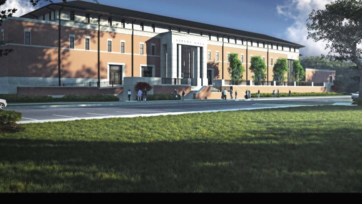 Artist rendering of Asbury Hall on the University of Southern Mississippi campus