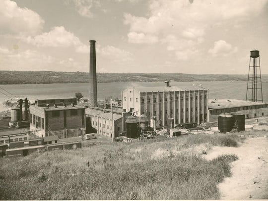 Salt Point in Lansing, shown around 1960, was named for the International Salt Company, shown in this historic photo.