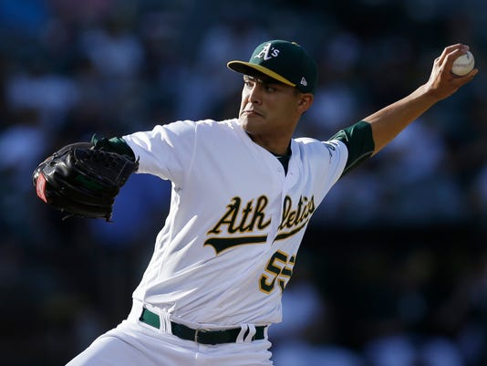 Oakland Athletics pitcher Sean Manaea works against the New York Yankees in the first inning of a baseball game Friday, June 16, 2017, in Oakland, Calif. (AP Photo/Ben Margot)