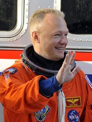 Doug Hurley with the STS-135 Atlantis crew at Kennedy Space Center for a practice countdown in 2011.