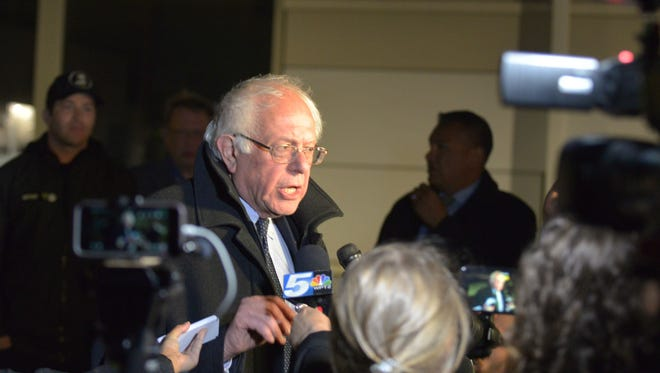 Sen. Bernie Sanders, I-Vt., speaks to journalists on Tuesday, April 19, 2016, at Burlington International Airport in South Burlington, following his defeat in the New York Democratic primary.