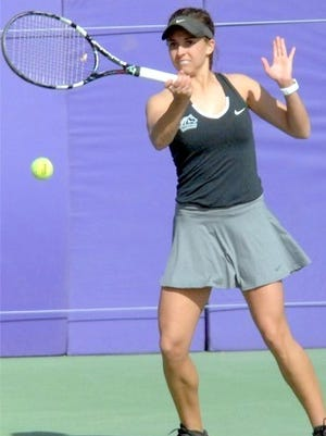 Tiffany Newell won her singles match, 6-3, 6-3, Saturday in Western's match against New Mexico Military Institute.