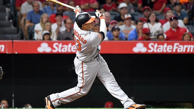 Orioles third baseman Manny Machado is tied for second in the majors in RBI in August with 16, one behind Giancarlo Stanton.