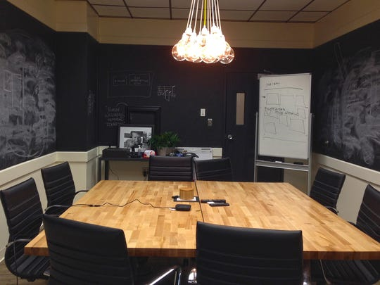 A conference table, photographed in 2015, at what is now called VCET @ BTV, an 11,000-square-foot coworking space in Burlington within the Consolidated Communications Technology Hub for start-ups, creatives, entrepreneurs and remote working professionals.